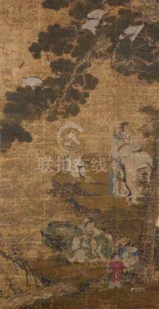 A large Chinese painting of 'The Three Deities'