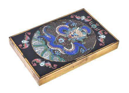 A Chinese Cloisonné 'Dragon' scroll weight