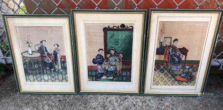 CHINESE 3 FRAMED PAINTING OF LADIES AND OFFICIAL