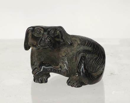 CHINESE ROSEWOOD CARVED DOG PENDANT