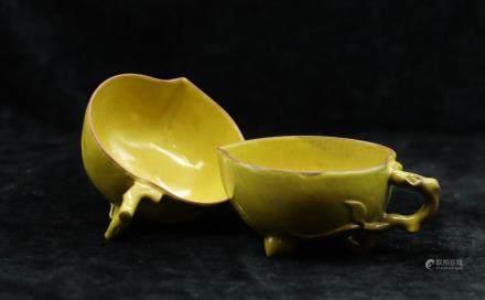CHINESE YELLOW GLAZED ZISHA PEACH CUPS