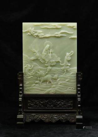 CHINESE CELADON JADE PLAQUE TABLE SCREEN