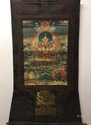 Chinese Hanging Scroll Tibetan Thangka of Buddha and 5 Claws Dragon