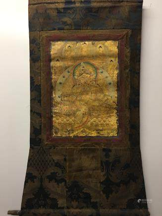 Chinese Hanging Scroll Tibetan Thangka of Dzambhala