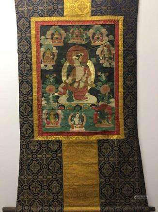 Chinese Hanging Scroll Tibetan Thangka and Lineage