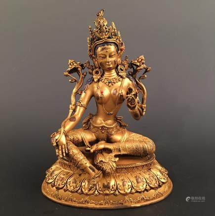 Chinese Gilt Bronze Tara Statue Inlaid Kallaite and Ruby