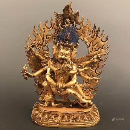 Chinese Gilt Bronze Mahakala Wrathful Heruka Vajrakilaya Buddha Statue