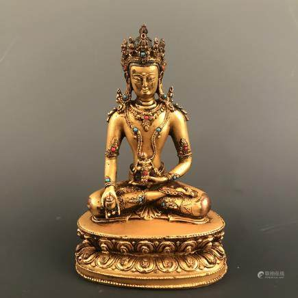 Chinese Gilt Bronze Buddha Figure Inlaid Kallaite and Ruby