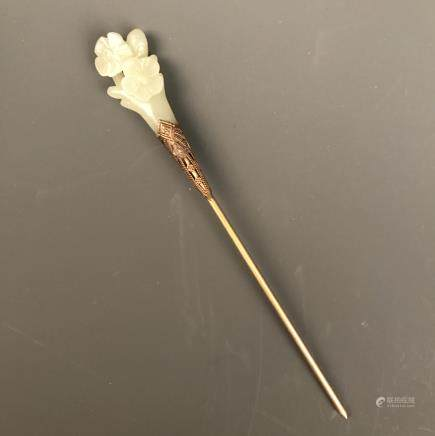 Chinese Floral Jade Hairpin