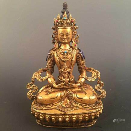 Chinese Gilt Bronze Tara Figure Inlaid Gemstones