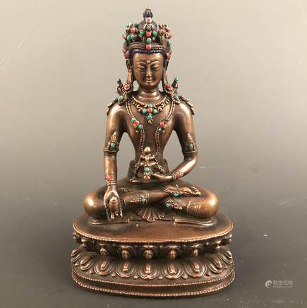 Chinese Bronze Amitayus Figure inlaid Gemstones