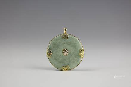 Chinese Natural Icy Green Jadeite Pendant with 14 K Gold Inlay Character ' Fu' Luckiness