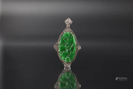 GIA Certified Natural Carved Jadeite Pendant with White Gold and Seven Diamonds