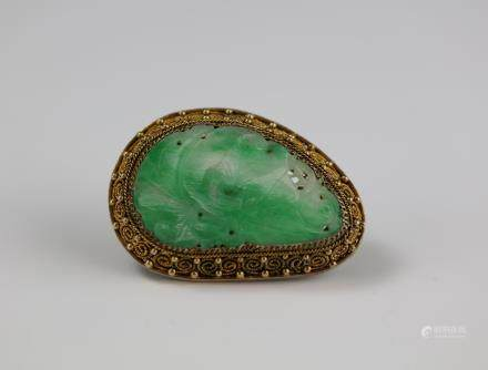 Silver Inlay Jadeite Brooch