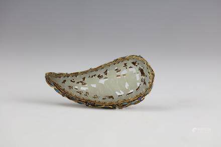 White Jade Curving an Old Man Brooch