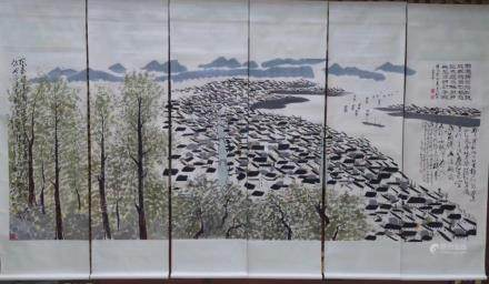 A SIX-PANEL PAINTING OF LANDSCAPE, WU GUANZHONG