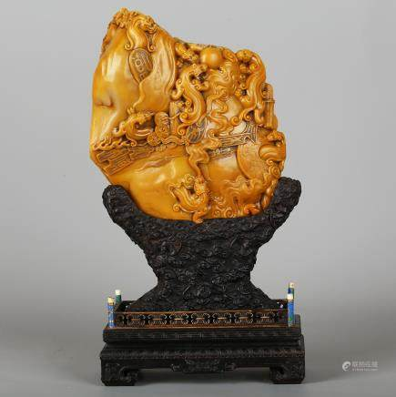 CHINESE SOAPSTONE CARVED BOULDER W/ WOOD STAND