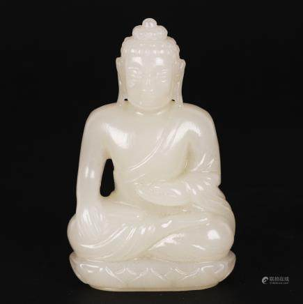 CHINESE WHITE JADE CARVED BUDDHA
