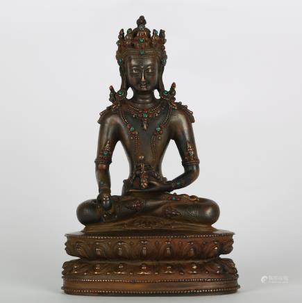 CHINESE BRONZE FIGURE OF AMITAYUS