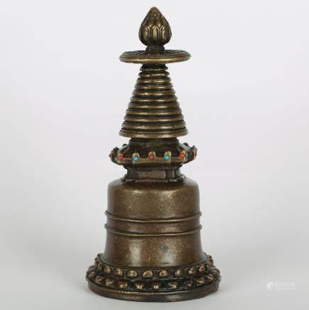 CHINESE BRONZE BUDDHIST STUPA