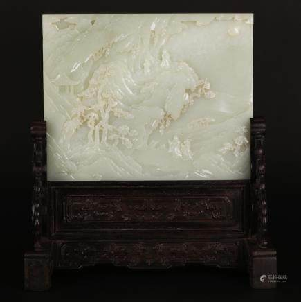 CHINESE WHITE JADE CARVED LANDSCAPE TABLE SCREEN
