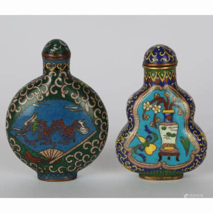 CHINESE SET OF 2 CLOISONNE SNUFF BOTTLE