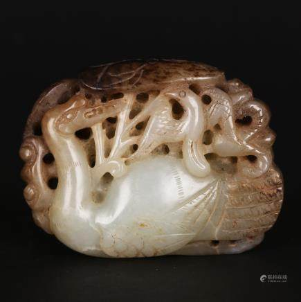 CHINESE JADE CARVED GOOSE PENDANT