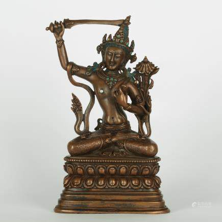 CHINESE BRONZE FIGURE OF MANJUSRI