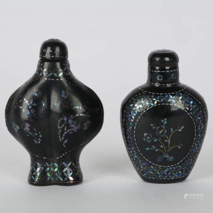 CHINESE SET OF 2 LACQUER SNUFF BOTTLE
