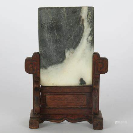 CHINESE MARBLE PLAQUE TABLE SCREEN