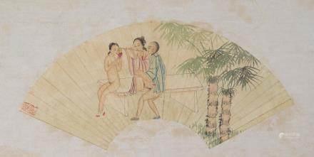 Chinese Watercolor Erotic Scene Fan Paper Roll