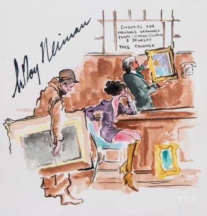 LeRoy Neiman American Pop Watercolor