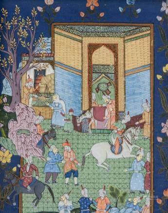 Persian Gouache on Silk Safavid Period (1502-1736)