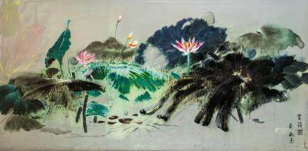 Huang Yongyu b.1924 Chinese Oil on Canvas Lotus
