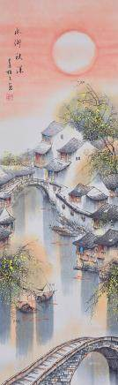 Jin Meisheng 1902-1989 Chinese Watercolor Scroll