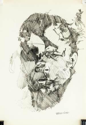 Zdzislaw Beksinski Polish Surrealist Ink on Paper