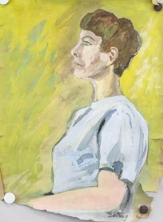 John Bellany 1942-2013 Scottish Gouache Portrait