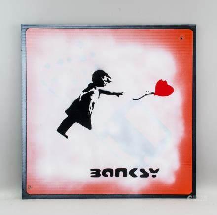 Banksy British Pop Art Reflective Square Sign