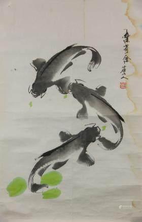 Zhuang Shanren 20th C. Chinese Watercolor Roll
