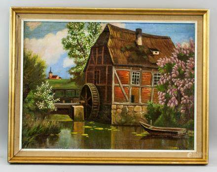 Oil on Canvas Watermill House Landscape Dated 39
