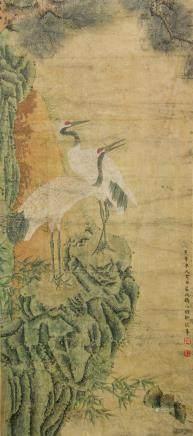 Qu Zhaolin 1866-1937 Chinese Watercolor Scroll