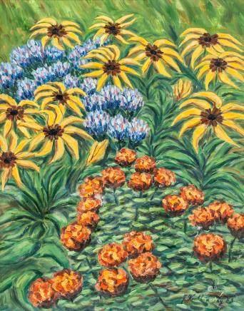 Oil Autumn Flower Artist Signed Dated 1983