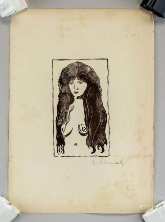 Edvard Munch Norwegian Expressionist Woodblock