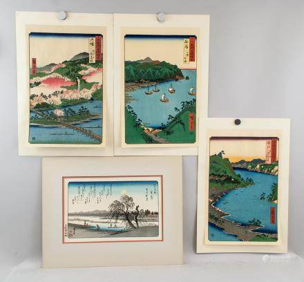 Japanese Woodblock Print Landscape 4 Assorted