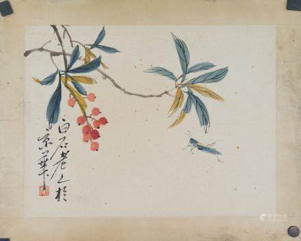 Qi Baishi 1864-1957 Chinese Watercolor Flower Roll