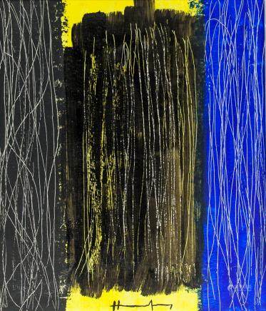 Hans Hartung French-German Lyrical Oil on Canvas