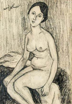 Amedeo Modigliani Italian Cubist School Charcoal