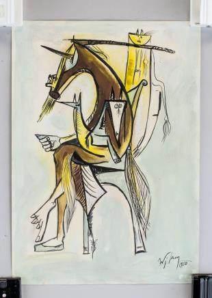Wifredo Lam Cuban Surrealist Tempera on Paper