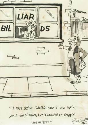 British Pop Art Ink on Paper Signed Reg Smythe