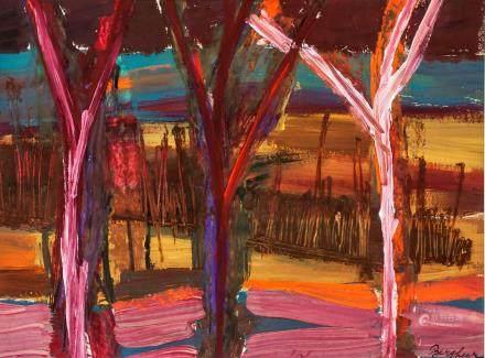 Eduard Bargheer German Modernist Oil on Paper